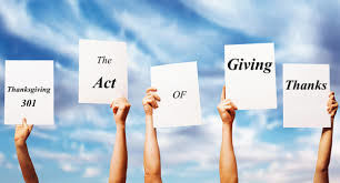 the act of giving thanks