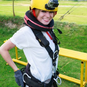 Goproing her bungee jump